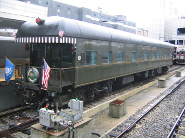 NYC-3 private luxury rail car traveling in the West